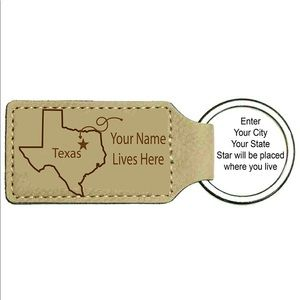 Personalized Leatherette State/Name Key Chain